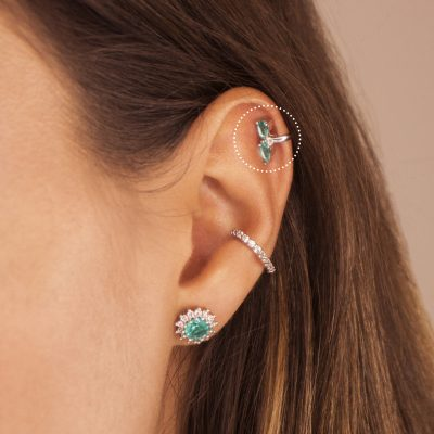 Ear cuff mini circones gota turmalina enchape en rodio