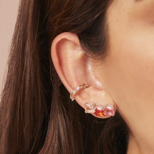 Rainbow-ear-cuff+-aretes-naranja-rosados