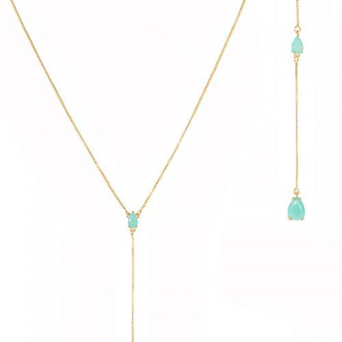 Collar-lariat-circones-aqua-enchape-en-oro