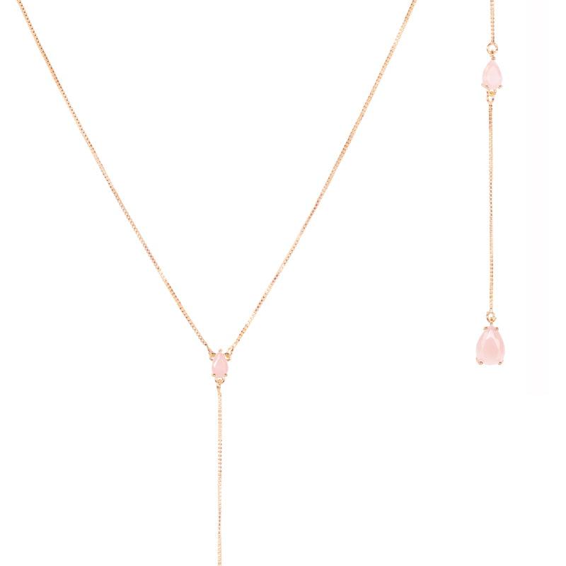 Lariat-circones-cuarzo-rosa-enchape-en-oro-rosa