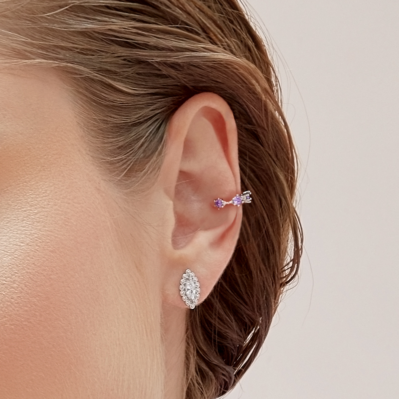 Aretes marquise y ear cuff bites amatista detalle