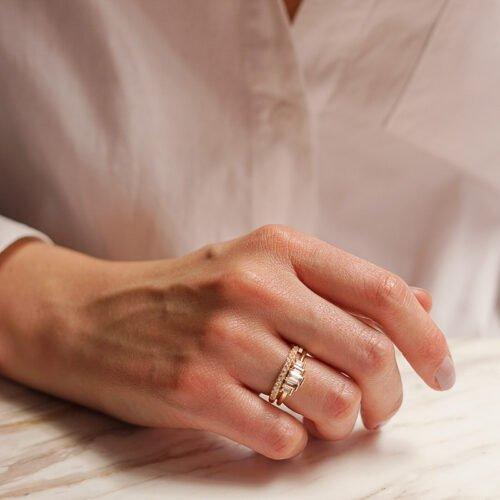 Anillo circones baguette + anillo micro circones enchape en oro